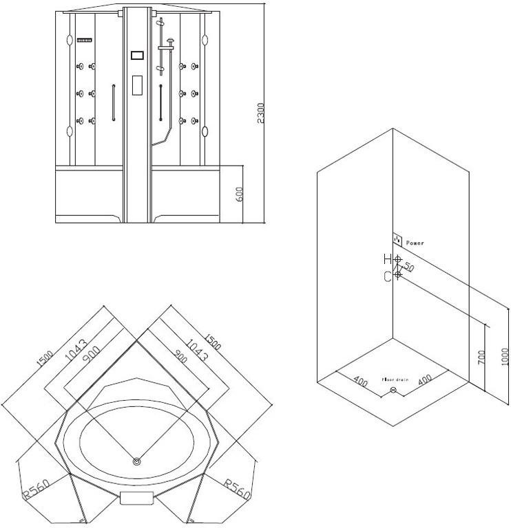 dampfdusche mit whirlpool grande home ws129. Black Bedroom Furniture Sets. Home Design Ideas